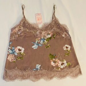 NWT Floral silk lace crop cami